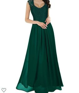 Gorgeous emerald green lace bodice dress